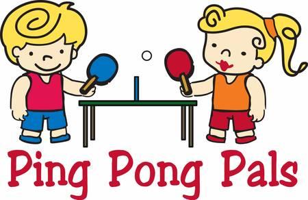 ping pong: Ni�o y ni�a de ping pong Rubia jugadores en la mesa. Vectores