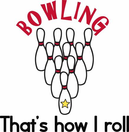 yellow star: Tenpin formation bowling pins with a yellow star at the front.