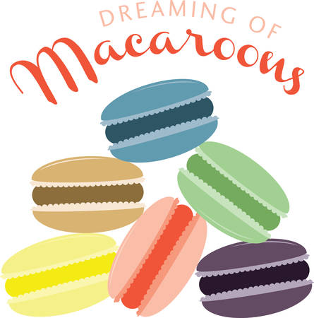 These macaroons will be a tasty addition to your cookie project. Иллюстрация