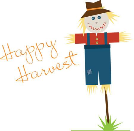 autumn scarecrow: Cute smiling scarecorw for autumn and Halloween decorating.