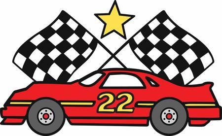 Nummer 22 raceauto met gekruiste geruite vlaggen.