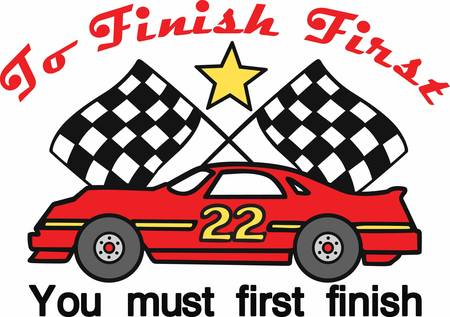 Number 22 race car with crossed checkered flags.