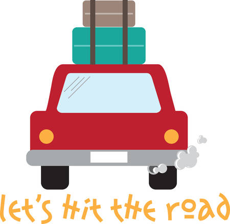 Car with luggage stacked on top ready for a road trip.