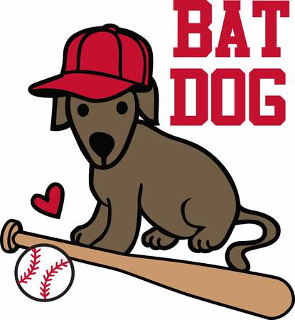 Baseball players will love this sporting dog. Illustration
