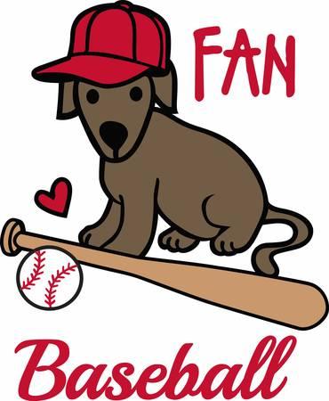hardball: Baseball players will love this sporting dog. Illustration
