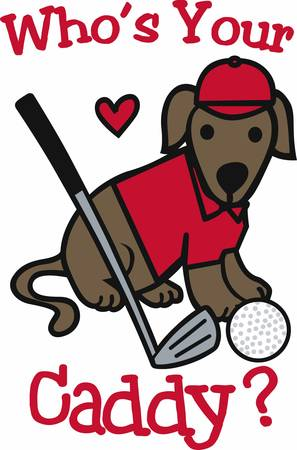 putter: Golfers will love this sporting dog. Illustration