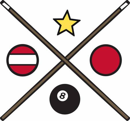 billiards cue: Billiards and snooker balls and crossed pool cue sticks.