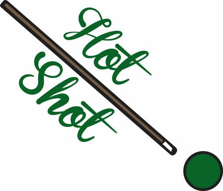 snooker: Green billiard or snooker ball with pool cue stick. Illustration