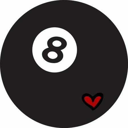 8 ball: Black billiards 8 ball with a little red heart.