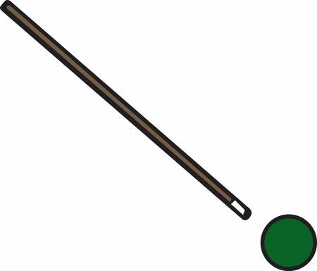 cue: Green billiard or snooker ball with pool cue stick. Illustration
