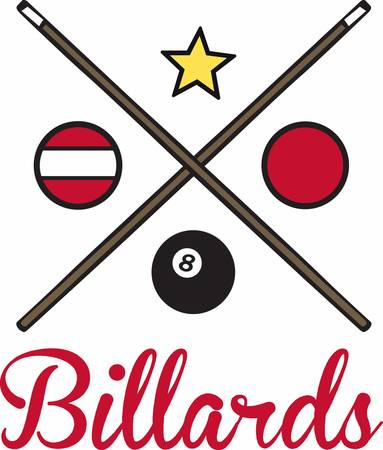 Billiards and snooker balls and crossed pool cue sticks.