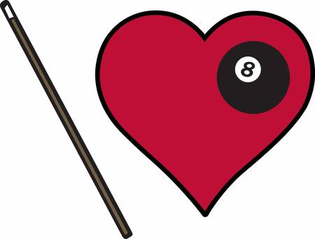 Black billiards 8 ball with pool cue stick and heart. Иллюстрация