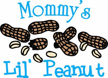 pygmy: Whole and shelled peanut snack. Perfect for moms who have a little one. Illustration