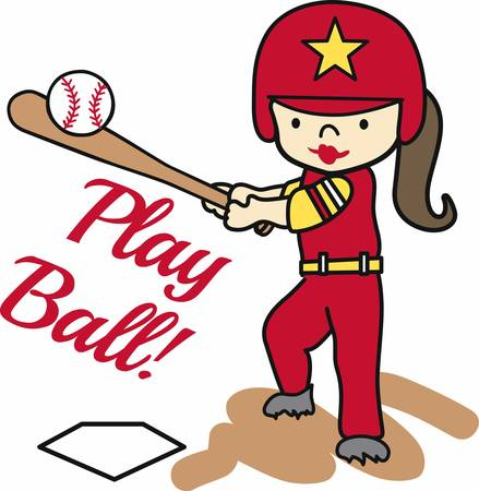 batting: Softball batting girl swinging at a ball. Illustration