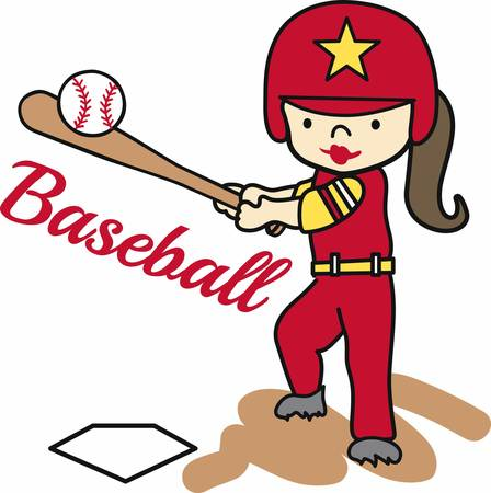batting: Softball batting girl swinging at a ball. Illustration