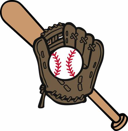 little league: Baseball mitt and bat logo.