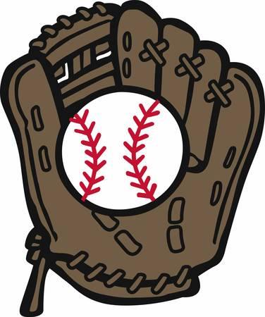 mitt: Baseball mitt and bat logo.