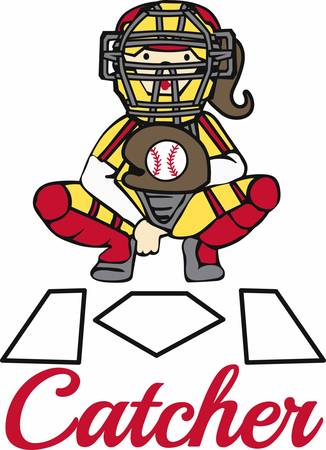 homeplate: Softball catcher in giving signals over home plate. Illustration