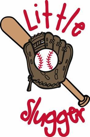 Baseball mitt and bat logo.