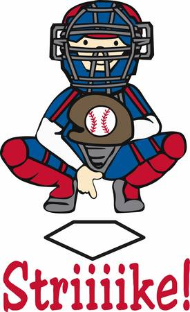 Baseball catcher in giving signals over home plate.