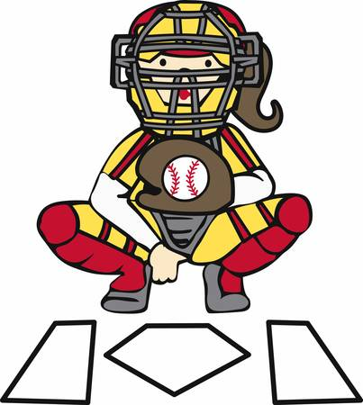 Softball catcher in giving signals over home plate. Illustration