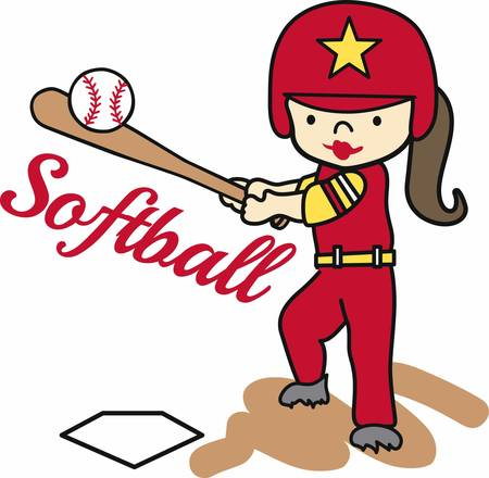 hitter: Softball batting girl swinging at a ball. Illustration