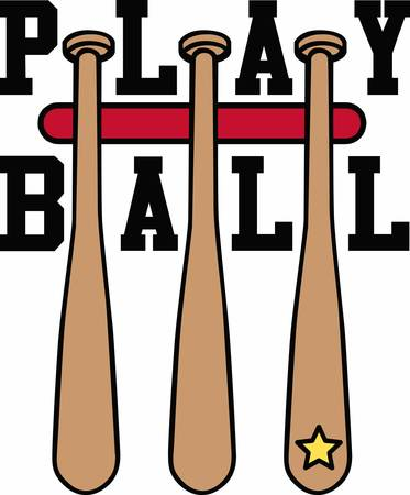 clothing rack: Hanging baseball bats with a yellow star.