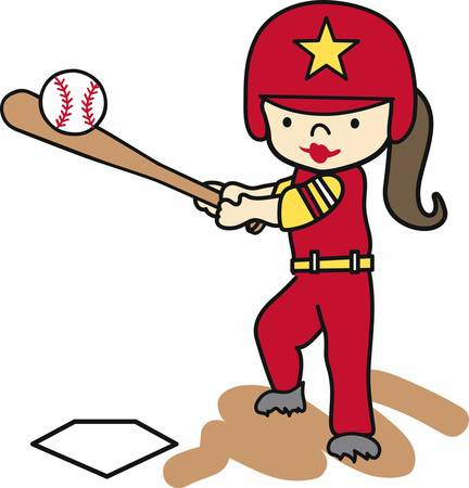 Softball batting girl swinging at a ball. Illustration