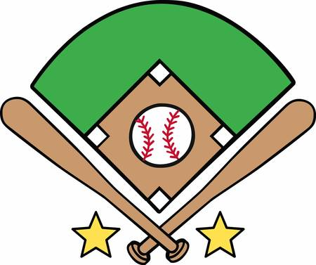 baseball diamond: Palos cruzados con estrellas amarillas que rodean un logotipo del diamante de b�isbol. Vectores