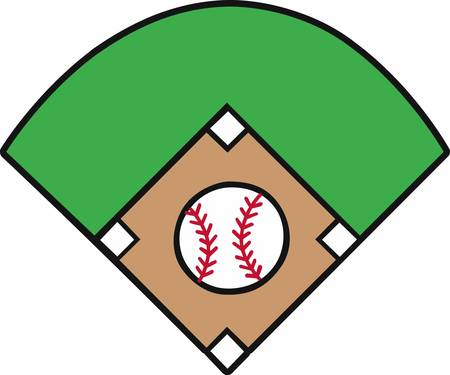 야구 다이아몬드 로고를 둘러싸는 노란색 별과 박쥐를 건넜다.