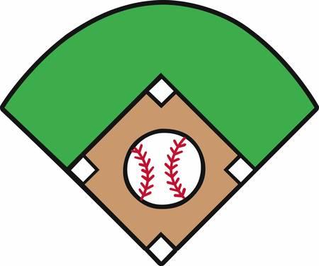 Crossed bats with a yellow stars surrounding a baseball diamond logo.