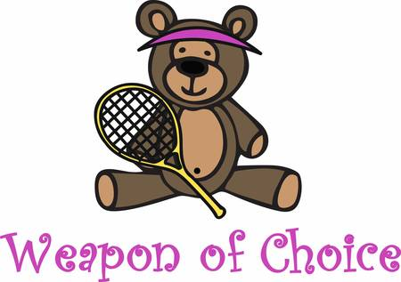 visor: Cute tennis player teddy bear cartoon wearing a yellow visor and holding a racket.