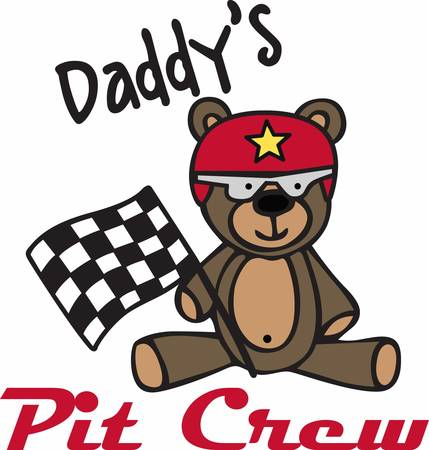 teddy bear cartoon: Cute racing teddy bear cartoon with checkered flag and helmet.