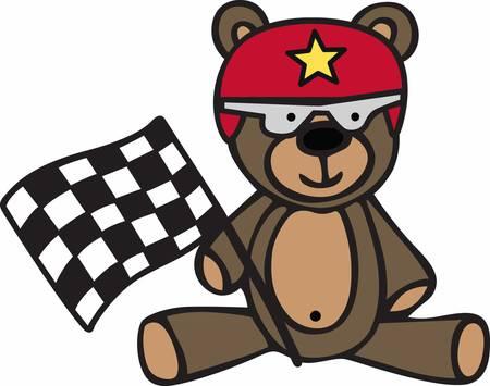 Cute racing teddy bear cartoon with checkered flag and helmet. Vector