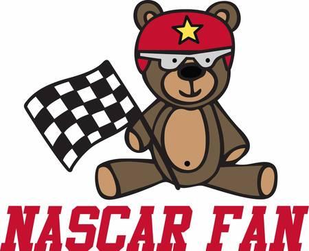 nascar: Cute racing teddy bear cartoon with checkered flag and helmet.