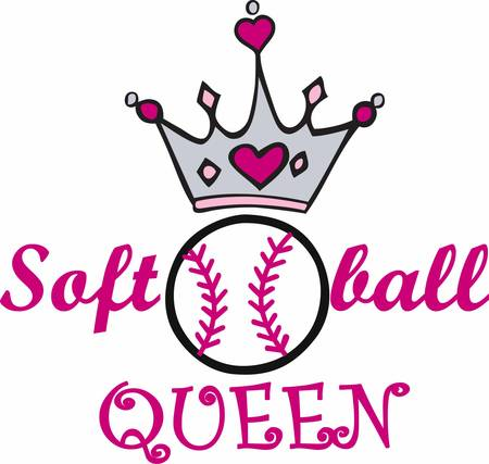 heart and crown: Pink heart crown over a softball.