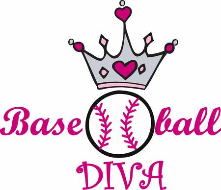 royal person: Pink heart crown over a softball.