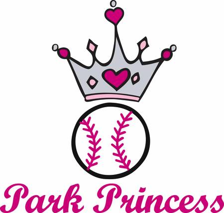 Pink heart crown over a softball.