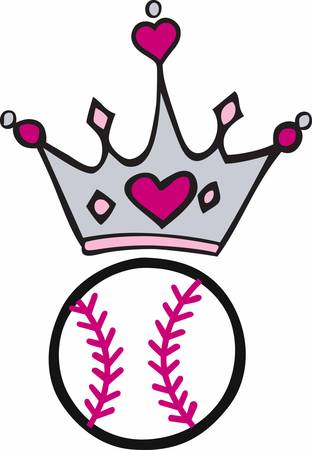 heart with crown: Pink heart crown over a softball.