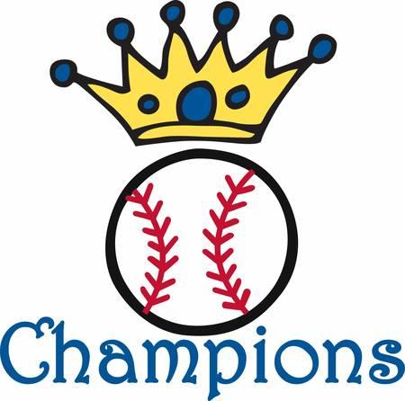 Blue circle crown over a Baseball logo.