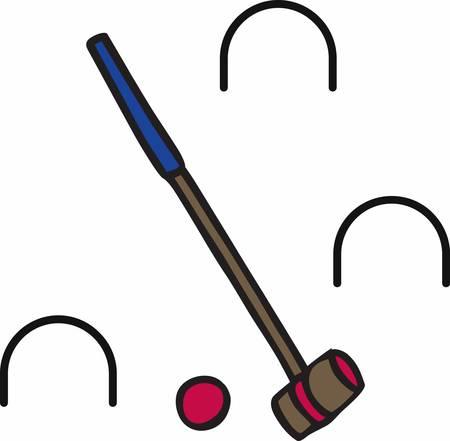 Einsatzzeichen: Das Golfspiel w�rde sehr viel zu verlieren, wenn Krocket Schl�gel und Billardst�cke waren auf dem Gr�n darf Illustration