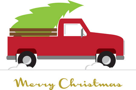 bringing: Remember bringing the tree home with this Christmas pickup truck design.