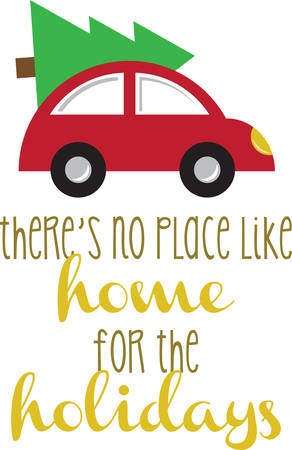 vw: Remember bringing the tree home with this Christmas  design. Illustration