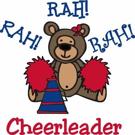 pom pom: Cute cheerleading teddy bear cartoon with pom poms and bullhorn.
