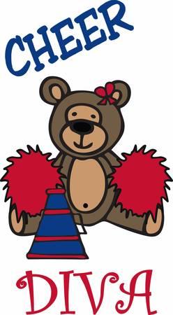 cheerleading: Cute cheerleading teddy bear cartoon with pom poms and bullhorn.