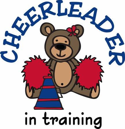 Cute cheerleading teddy bear cartoon with pom poms and bullhorn.