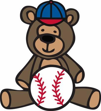 Cute teddy bear cartoon with baseball and cap.