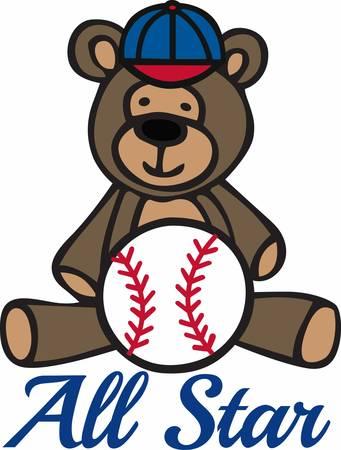cute teddy bear: Cute teddy bear cartoon with baseball and cap.