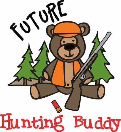 Cute hunting teddy bear cartoon with a shotgun in the forest.