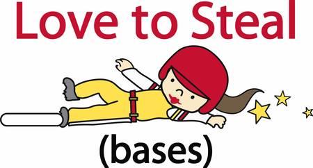 softball player: Softball player sliding into base with yellow stars trailing behind.
